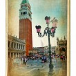 European landmarks series - vintage cards- Venice - Stock Photo