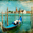 Venice - great italian landmarks vintage series - Grand channel - Stock Photo