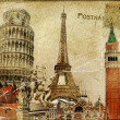 Vintage postal card - european holidays - Stockfoto