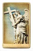 European landmarks- vintage cards- Roman sculpture — Stock Photo