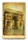 Vintage cards - European landmarks -Arch de triumph — Stock Photo