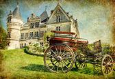 Francês antigo castelo com carruagem - artística imagens vintage — Fotografia Stock