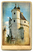 Lugares de interés europeos - castillo de chenonceau-tarjetas vintage — Foto de Stock