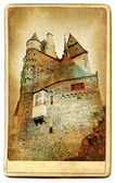 European landmarks series - castle Eltzburg- vintage card — Stock Photo