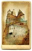 Série de monuments européens - carte de château eltzburg-vintage — Photo