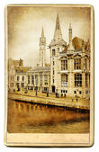 European landmarks series - vintage cards- Gent (Belgium) — Photo