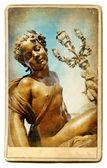 European landmarks series vintage cards - Parisian sculpture — Stock Photo