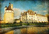 Chenonceau slott - artwork i målning stil — Stockfoto
