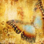 Vackra gyllene abstraktion med fjäril — Stockfoto