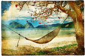 Tropical scene- artwork in painting style — Stock Photo
