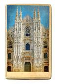 European landmarks - vintage cards - Milan cathedral — Stock Photo