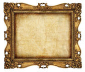 Antique frame with old canvas — Stock Photo