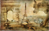 Parisian mystery - artwork in retro style — Stock Photo