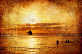 Golden tropical sunset - artistic retro styled picture — Stock Photo