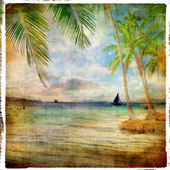 Tropical sunset - retro styled picture — Stock Photo