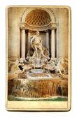 European landmarks- vintage cards- fountain Trevi — Stock Photo