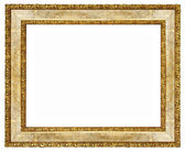 Elegant wooden frame with golden borders — Stock Photo