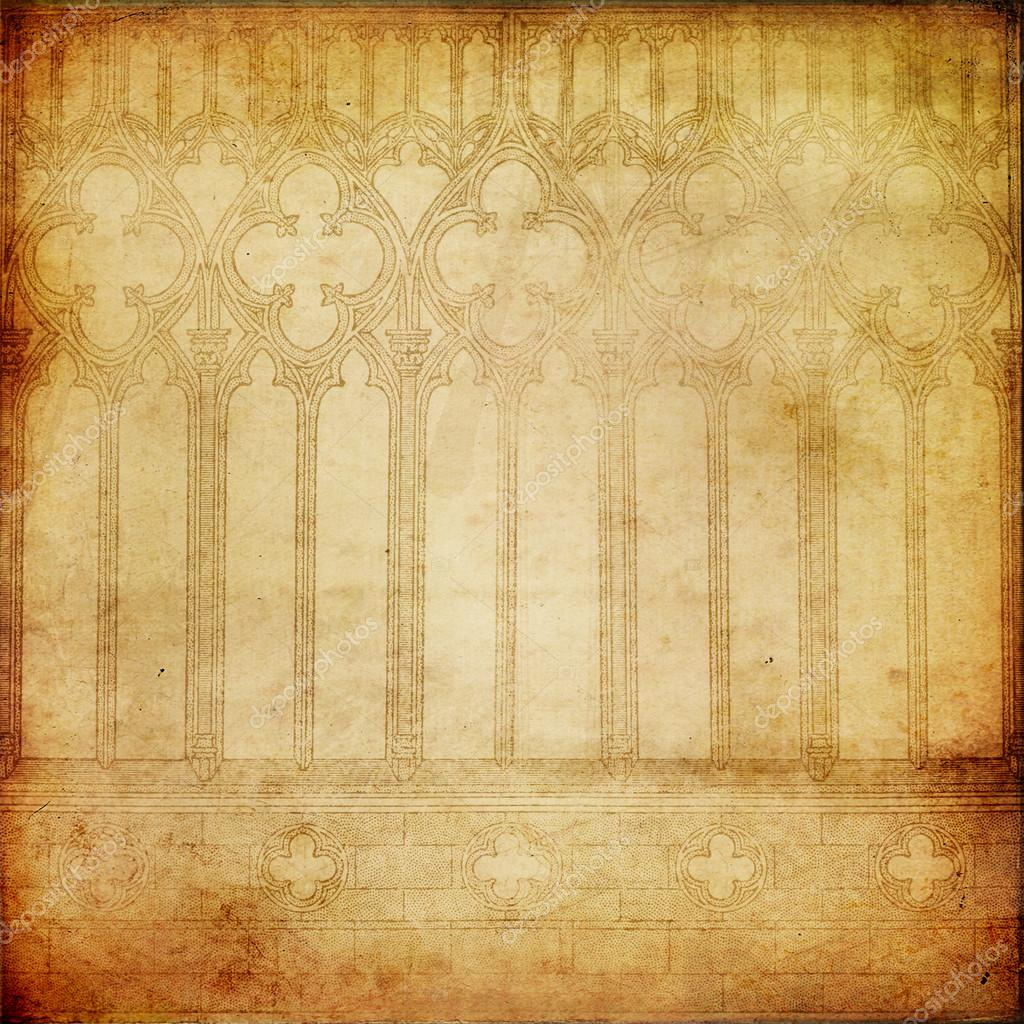 Old Paper Background With Gothic Printed Elements Stock