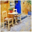 Stock Photo: Old streets, Crete. Tavernas