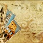 Vintage postal card - european holidays — Stock Photo