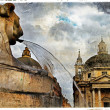Rome' fountains, piazza dei Popolo, artistic vintage picture - Stock Photo
