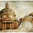 Stock Photo: Rome' fountains, piazza dei Popolo, artistic vintage picture