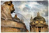 Rome' fountains, piazza dei Popolo, artistic vintage picture — Stock Photo