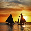 Sailing on sunset — Stock Photo