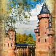 Medieval castle - artwork in painting style (from my castles collection) — Stok fotoğraf #18310309