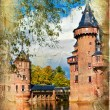 Medieval castle - artwork in painting style (from my castles collection) — Zdjęcie stockowe