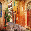 Stock Photo: Old pictorial greek streets - vintage artistic series
