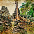 Mysterious Cambodia - temple in jungles, retro styled picture - Stock Photo