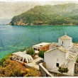 Skopelos island,Greece - retro styled picture - Stock Photo