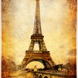 Vintage Parisian cards series -Eiffel tower — Stock Photo