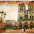 Notre dame cathedral - retro styled picture — Stockfoto