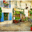 Stock Photo: Streets of old Montmartre (Paris)- watercolor style