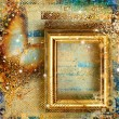 Stylish vintage background with golden frame and butterfly — Stock Photo