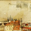 Vintage post card series- cities- Prague - Stok fotoraf