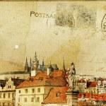 Vintage post card series- cities- Prague — Stock Photo