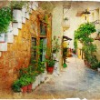Charming old greek streets - Stock Photo