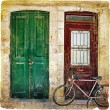 Old traditional greek doors series -retro styled picture — Stock Photo