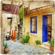 Постер, плакат: Old pictorial streets of Greece artistic picture