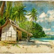 Tropical beach - vintage picture - Stock Photo