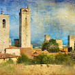 Great italian landmarks painted series - San Gimignano — Stock Photo