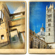 Old Italy - Siena, retro cards - Stock Photo