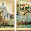 Beautiful romantic Venice- retro cards — Stock Photo