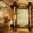 Adventure stories background with wooden frame — Stock Photo