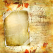Stock Photo: Vintage autumn background with paper frame and leaves