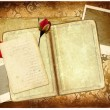 Romantic retro photo-album with old letters,frame and rose - Stock Photo