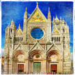 Cathedral on medieval Siena - Tuscany - Stock Photo